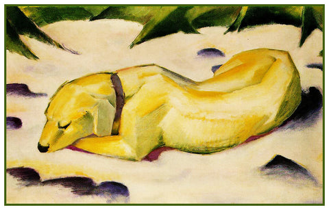Dog Sleeping in the Snow by Expressionist Artis Franz Marc Counted Cross Stitch Pattern