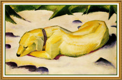 Dog Sleeping in the Snow by Expressionist Artis Franz Marc Counted Cross Stitch or Counted Needlepoint Pattern - Orenco Originals LLC