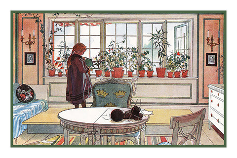 The Garden Window by Swedish Artist Carl Larsson Counted Cross Stitch or Counted Needlepoint Pattern