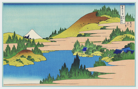 Asian Japanese Lake of Hakone in Segami by Hokusai Counted Cross Stitch Pattern