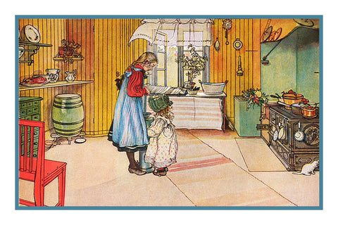 In the Kitchen by Swedish Artist Carl Larsson Counted Cross Stitch or Counted Needlepoint Pattern