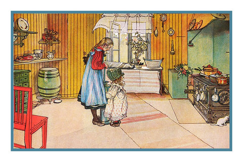 In the Kitchen by Swedish Artist Carl Larsson Counted Cross Stitch Pattern DIGITAL DOWNLOAD