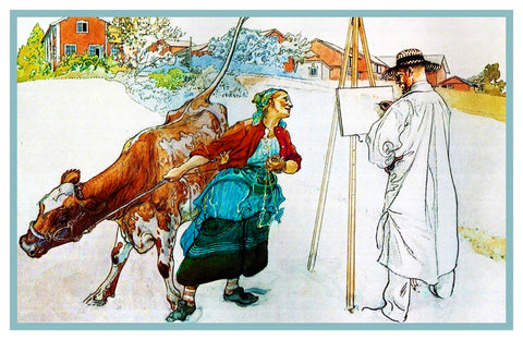 Carl Larsson Painting Work on Farm Counted Cross Stitch Chart Pattern