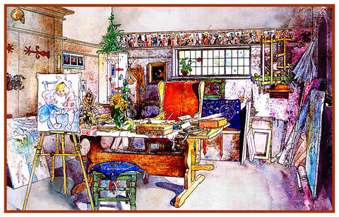Scandinavian Carl Larsson Hilda Writing Desk Counted  Cross Stitch Chart Pattern