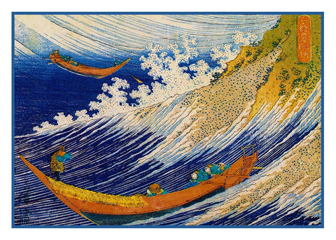 Choshi Boats in the Waves by Japanese artist Katsushika Hokusai Counted Cross Stitch Pattern DIGITAL DOWNLOAD