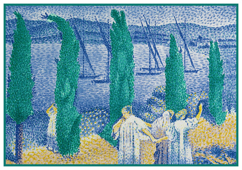 Henri-Edmond Cross Cypresses by the River Orenco Originals Counted Cross Stitch Pattern
