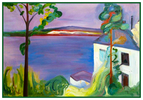 View from Norstad Landscape by Symbolist Artist Edvard Munch Counted Cross Stitch Pattern