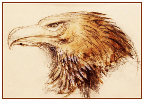 Sketch of a Golden Eagle Head by John Ruskin Counted Cross Stitch or Counted Needlepoint Pattern