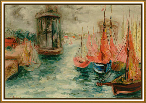 Sail Boats in the Harbor by Russian Artist  Issachar Ber Ryback's Counted Cross Stitch or Counted Needlepoint Pattern