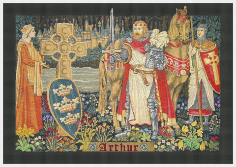King Arthur's Court From Medieval Tapestry Counted Cross Stitch Pattern