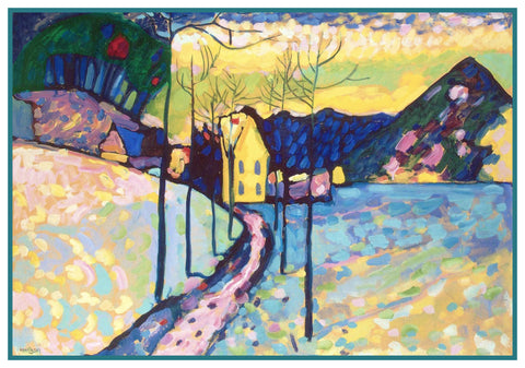A Winter Landscape by Artist Wassily Kandinsky Counted Cross Stitch or Counted Needlepoint Pattern