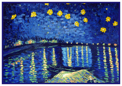 Starry Night Over The Rhone Detail by Vincent Van Gogh Counted Cross Stitch or Counted Needlepoint Pattern