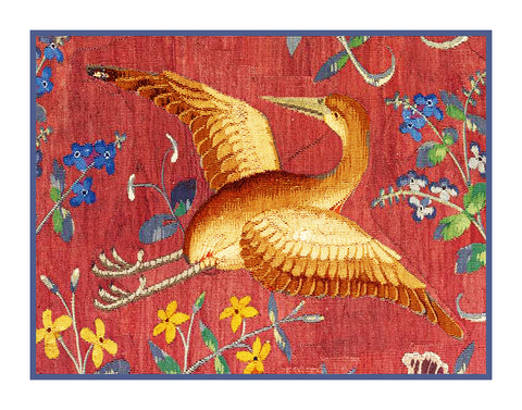 Bird Crane Detail from the Lady and The Unicorn Tapestries Counted Cross Stitch or Counted Needlepoint Pattern