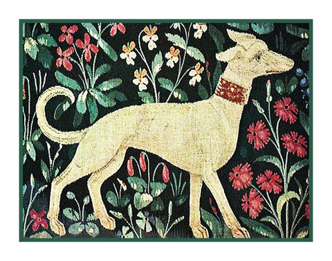 Dog Detail Green Background from the Lady and The Unicorn Tapestries Counted Cross Stitch or Counted Needlepoint Pattern