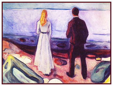 2 People the Lonely Ones by Symbolist Artist Edvard Munch Counted Cross Stitch Pattern