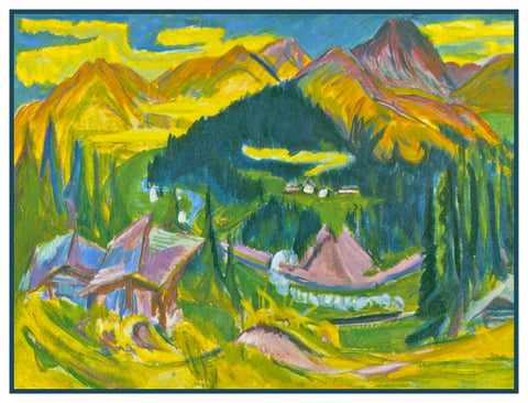 Autumn in Davos Switzerland by Ernst Ludwig Kirchner Counted Cross Stitch or Counted Needlepoint Pattern