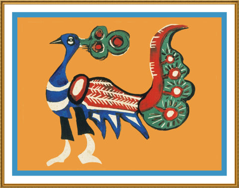 Russian Folk Art Peacock Bird by Issachar Ber Ryback's Counted Cross Stitch or Counted Needlepoint Pattern