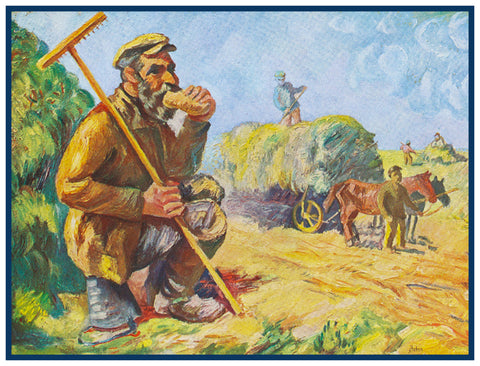 Farmer Working the Fields by Russian Artist  Issachar Ber Ryback's Counted Cross Stitch or Counted Needlepoint Pattern
