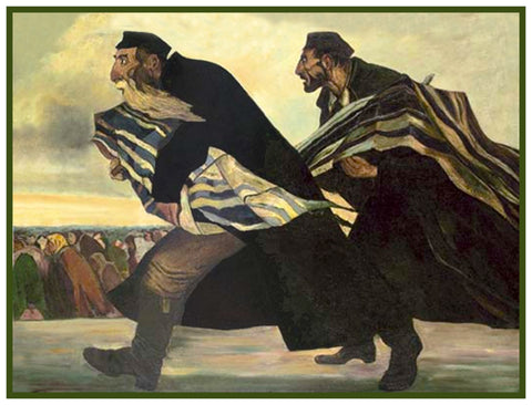 Rabbis Fleeing Protecting The Torah The Pogrom by Russian Artist  Issachar Ber Ryback's Counted Cross Stitch Pattern