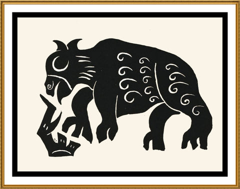 Russian Folk Art Animal Bull by Issachar Ber Ryback's Counted Cross Stitch or Counted Needlepoint Pattern