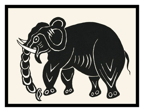 Russian Folk Art Animal Elephant by Issachar Ber Ryback's Counted Cross Stitch Pattern