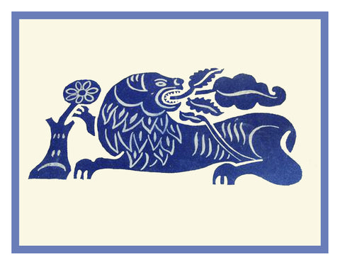 Russian Folk Art Animal Blue Lion with Flower by Issachar Ber Ryback's Counted Cross Stitch Pattern
