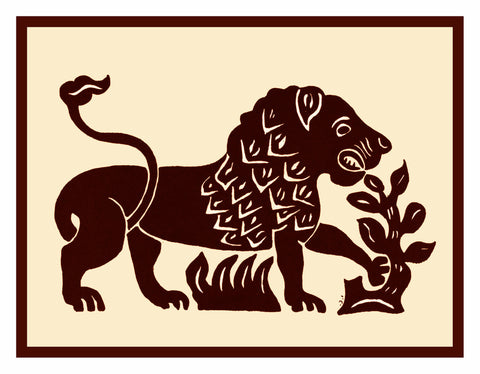 Russian Folk Art Animal Lion by Issachar Ber Ryback's Counted Cross Stitch or Counted Needlepoint Pattern