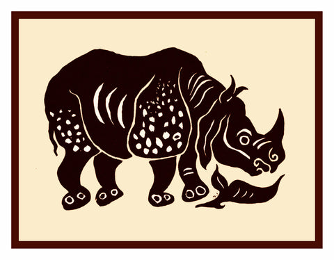 Russian Folk Art Animal Rhinoceros by Issachar Ber Ryback's Counted Cross Stitch Pattern