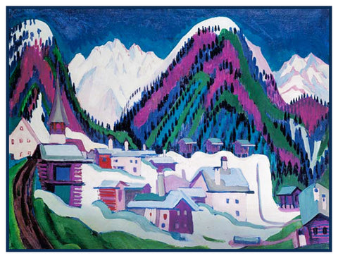 Simplified Winter in Davos Switzerland by Ernst Ludwig Kirchner Counted Cross Stitch or Counted Needlepoint Pattern