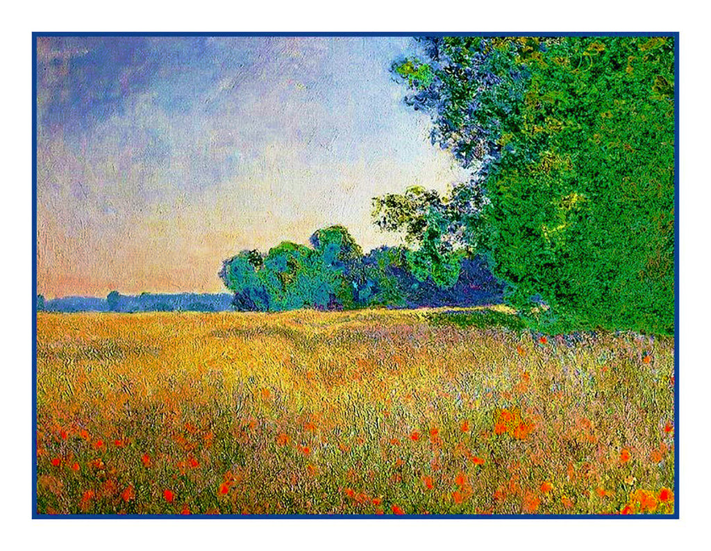 The Oat and Poppy Fields inspired by Claude Monet's impressionist painting Counted Cross Stitch or Counted Needlepoint Pattern