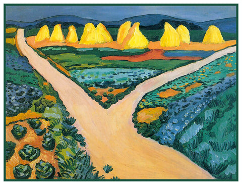 Bavarian Vegetable Fields Landscape by Expressionist Artist August Macke Counted Cross Stitch or Counted Needlepoint Pattern