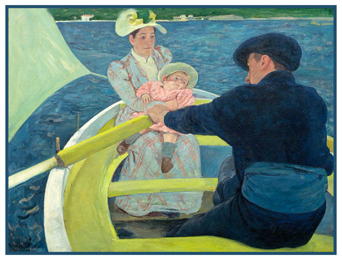 A Family Boating Party by American impressionist artist Mary Cassatt Counted Cross Stitch or Counted Needlepoint Pattern
