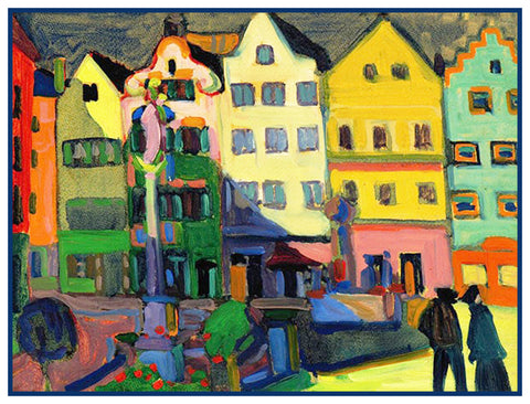 The Bavarian Market Square by Artist Wassily Kandinsky Counted Cross Stitch or Counted Needlepoint Pattern