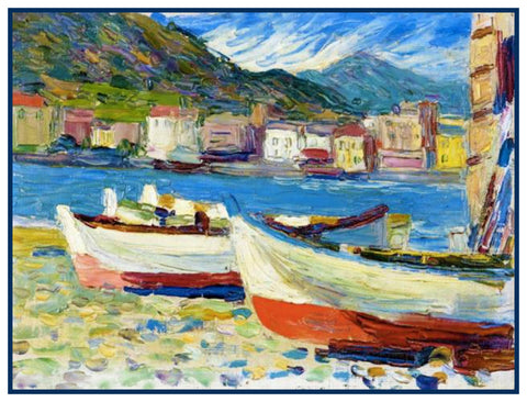 Boats in Italy by Artist Wassily Kandinsky Counted Cross Stitch Pattern