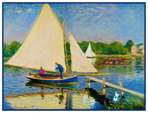 Boaters in Argenteuil inspired by Claude Monet's impressionist painting Counted Cross Stitch Pattern