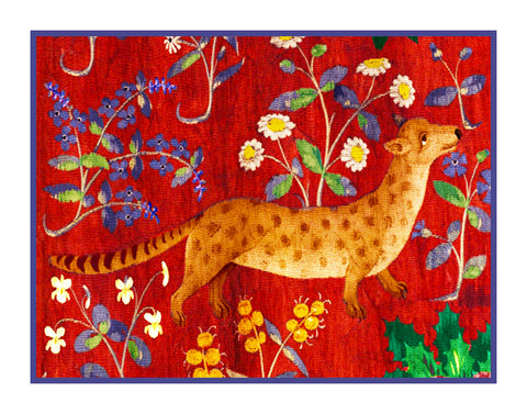 Fox Detail from the Lady and The Unicorn Tapestries Counted Cross Stitch or Counted Needlepoint Pattern
