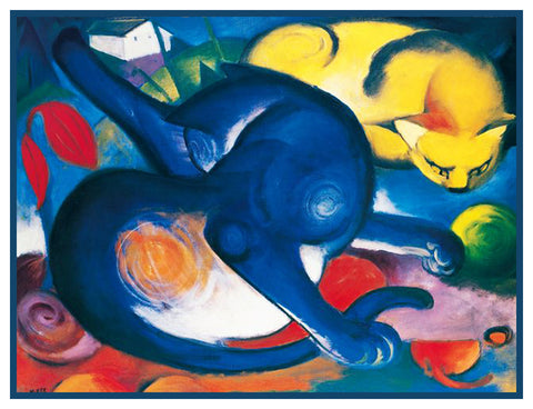 2 Vivid Cats by Expressionist Artis Franz Marc Counted Cross Stitch or Counted Needlepoint Pattern