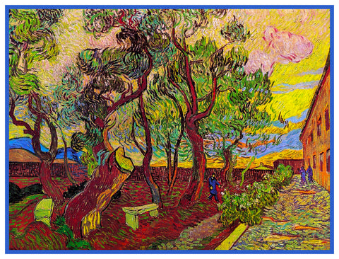 The Asylum Garden in Bloom by Vincent Van Gogh Counted Cross Stitch Pattern