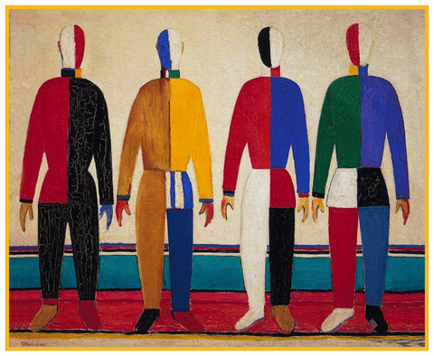 Geometric The Sportsmen by Artist Kazimir Malevich Counted Cross Stitch Pattern