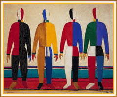 Geometric The Sportsmen by Artist Kazimir Malevich Counted Cross Stitch or Counted Needlepoint Pattern