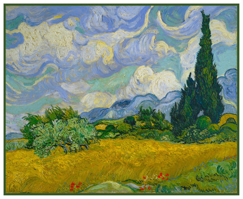 Wheat Field with Cypress Trees inspired by Impressionist Vincent Van Gogh's Painting Counted Cross Stitch Pattern DIGITAL DOWNLOAD