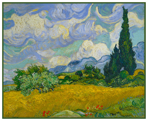 Wheat Field with Cypress Trees inspired by Impressionist Vincent Van Gogh's Painting Counted Cross Stitch Pattern