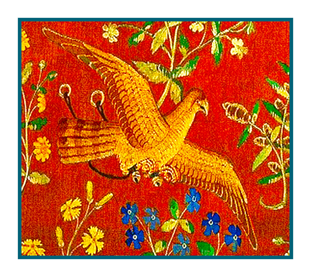 Bird Detail from Taste Panel from the Lady and The Unicorn Tapestries Counted Cross Stitch  Pattern - Orenco Originals LLC