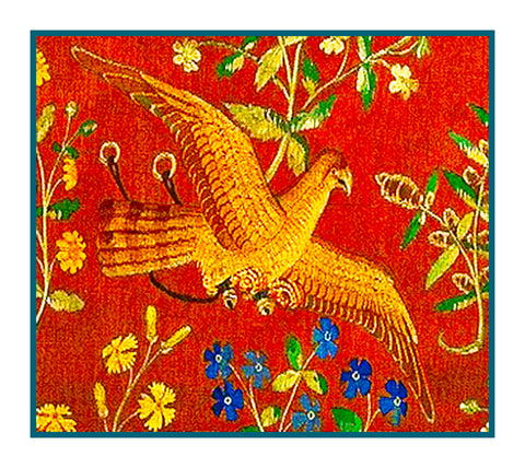 Bird Detail from Taste Panel from the Lady and The Unicorn Tapestries Counted Cross Stitch or Counted Needlepoint Pattern