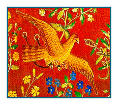 Bird Detail from Taste Panel from the Lady and The Unicorn Tapestries Counted Cross Stitch or Counted Needlepoint Pattern - Orenco Originals LLC