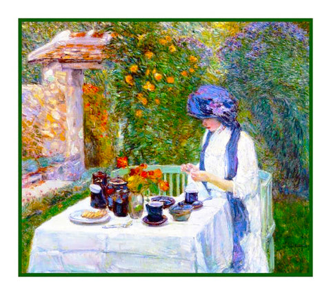 French Tea in The Garden by American Impressionist Painter Childe Hassam Counted Cross Stitch or Counted Needlepoint Pattern