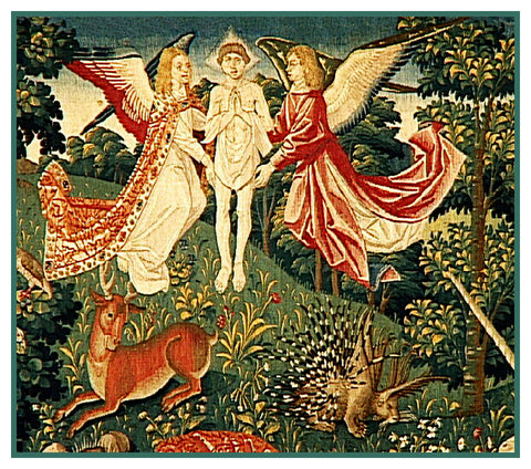 Angels and St Stephen Detail From St Etienne Medieval Tapestry Counted Cross Stitch or Counted Needlepoint Pattern