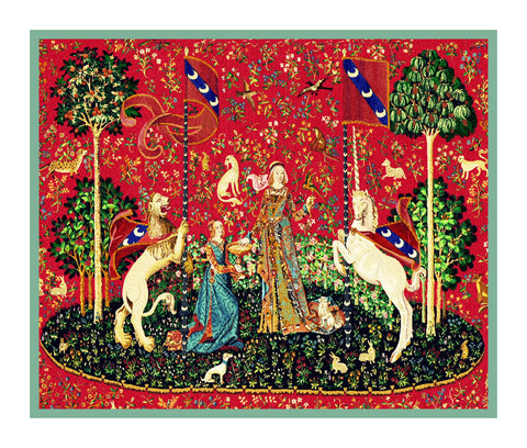Taste Panel from the Lady and The Unicorn Tapestries Counted Cross Stitch or Counted Needlepoint Pattern
