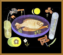 Round Fish Platter by Expressionist Artist Paul Klee Counted Cross Stitch or Counted Needlepoint Pattern
