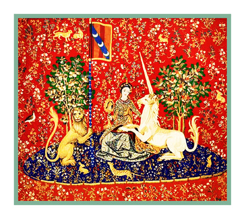 Sight Panel from the Lady and The Unicorn Tapestries Counted Cross Stitch or Counted Needlepoint Pattern